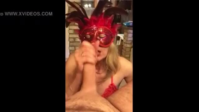 Masked Wife Practising her Blowjob Technique with her Young Neighbor