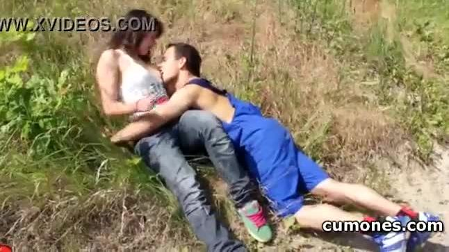 Lovely horny teen girl having passionate sex in the woods