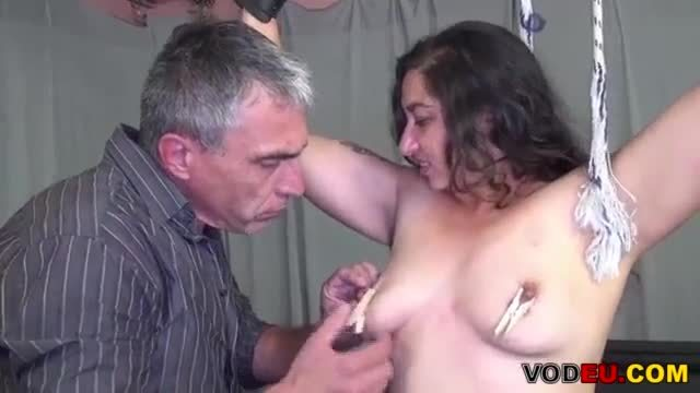 Kinky german mature lady gets cum on her tits
